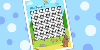 Gruffalo Themed 100 Square - stories, count, counting aid, story