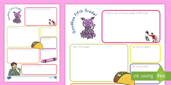 Goodbye Fifth Grade! Activity Sheet - End of school, end of school year, end of the year, graduation, fifth grade, Worksheet