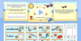 Adding at the Beach Shop Powerpoint Task Setter - adding, addition, addition task setter, addition activity, addition scenario work, beach, seaside, maths