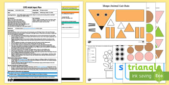 EYFS 2D Shape Animals Adult Input Plan and Resource Pack