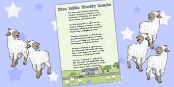 Five Little Woolly Lambs Counting Song Sheet - counting, song