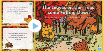 The Leaves on the Trees are Falling Down Song PowerPoint  - EYFS, Early Years, Key Stage 1, KS1, autumn, seasons, leaves, songs, music, EAD, Expressive Arts and