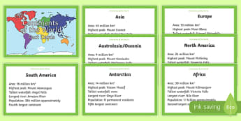 Continents of the World Fact Cards - continents, world, fact, cards, display