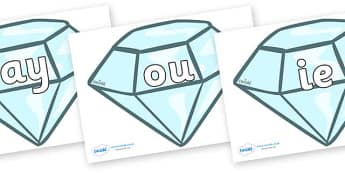 Phase 5 Phonemes on Diamonds - Phonemes, phoneme, Phase 5, Phase five, Foundation, Literacy, Letters and Sounds, DfES, display