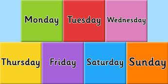 Days of the week on Tiles - visual, display, displays, poster