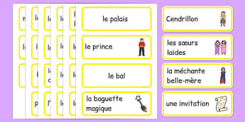 Cartes de vocabulaire : Cendrillon -  EAL, translated, traditional tales, fairy tales, Histoire, carte, Cendrillon, vocabulaire, lecture, écriture