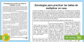 Guía: Estrategias para aprender tablas de multiplicar - tablas, multiplicar, técnicas, agilidad mental, desafío,Spanish