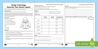 Design Technology Material Absorbency Experiment Activity Sheet - Australia YR 3 and 4 Design Technology, absorbency, fashion design, clothes designer, testing materi