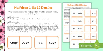Malfolge 1 bis 10 Domino Karten - Mathe, Multiplikation, 1x1, rechnen, maths, multiplication, times table,German