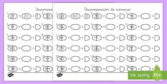 Ficha de actividad: Descomposición de números - Decenas y unidades - decenas y unidades, descomposción, descomponer números, números, descompone, mates, matemáticas,