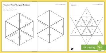 Transition Metals Tarsia Triangular Dominoes - Tarsia, gcse, chemistry, transition metals, periodic table, plenary activity