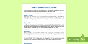 Beach Games Parent and Carer Information Sheet - outdoor, sports, family, games, activities