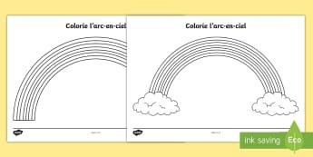 Feuille d'activités : Colorie l'arc en ciel - Couleurs, colours, Cycle 1, colorier, coloriage, arc-en-ciel, rainbow, colouring, cycle 2, seasons,F