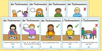 die Tischmanieren - german, Table Manners Rules Display Poster, table manners, manners, rules, display, poster, sign, good manners, good behaviour, behaviour, eating, food, lunch, table, break
