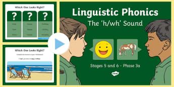 NI Linguistic Phonics Stage 5 and 6 Phase 3a, 'h, wh' Sound PowerPoint - Linguistic Phonics, Phase 3a, Northern Ireland, 'h', 'wh', sound, sound search, word sort, inv