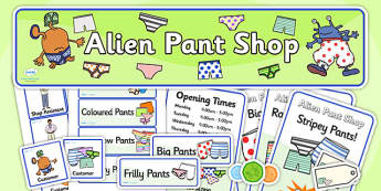 Pant Shop Role Play Pack to Support Teaching on Aliens Love Underpants - pant shop, pants, role play, pant shop pack, role play pack, role play materials, shop role play, activities, games