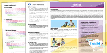 PlanIt History LKS2 The Romans Planning Overview CfE - history, planning, resources, topic, humanities, europe, local, scottish,