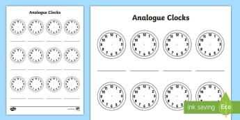 Analogue Clock Template Activity Sheet - analogue time, worksheet, measures, time