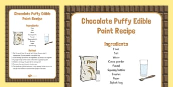 Chocolate Puffy Edible Paint Recipe - Easter, Messy play, chocolate, puffy, edible, paint, recipe