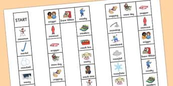 Two Syllable 'SN' Board Game - sn sound, syllable, board game, sound