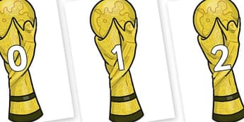 Numbers 0-50 on World Cup Trophy - 0-50, foundation stage numeracy, Number recognition, Number flashcards, counting, number frieze, Display numbers, number posters