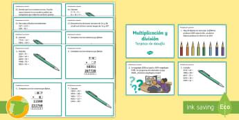 Tarjetas de desafío de matemáticas: Multiplicación y división - sumas, cálculo, actividades, mates, cálculo mental, primos, ,Spanish