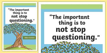 Einstein Inspirational Classroom Quote Display Poster - usa, america, inspirational quote, display, motivation, inspiration, einstein