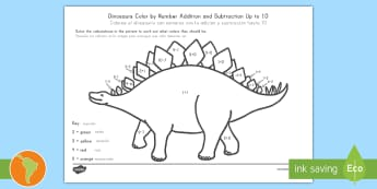 Dinosaurs Color by Number Addition and Subtraction Up to 10 US English/Spanish (Latin) - spanish, español, eal +, dinosaur, -, subrtaction,