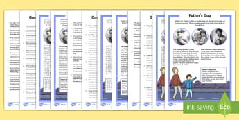 Father's Day Differentiated Reading Comprehension Activity English/Mandarin Chinese - Father's Day, KS1 reading, celebrations, events, non-fiction, comprehension, questions, fact file,