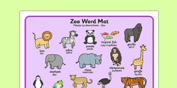 Zoo Word Mat Polish Translation - polish, zoo, word mat, word, mat, animals