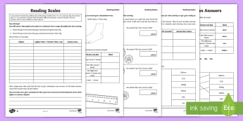 LKS2 Reading Scales Differentiated Activity Sheets - Lower Key Stage Two, Lower Key Stage 2, Lower KS2, Y3 and Y4, LKS2, Maths, reading scales, weigh,  m