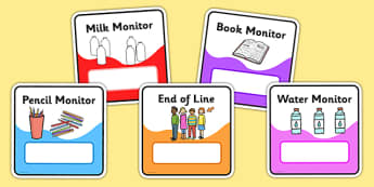 Monitor & Job Cards - Pupil job cards, job badges, monitors, classroom monitors, pupil jobs, helpers, job labels, Foundation Stage Labels, Teaching Labels