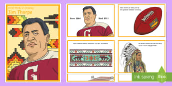 Diverse Minds on Display: Jim Thorpe Display Cards and A2 Display Poster - Native American, athletes, biography, great minds