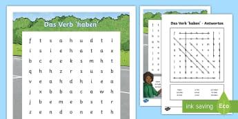 Verb 'To Have' Word Search German - German, Grammar, to Have, Verbs, Conjugtion, haben, Verben, Konjugieren, DAF, DAZ, Grammatik