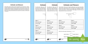 Year 2 Maths Homework Estimating and Measuring Length Activity Sheet - year 2, maths, homework, measure, length, compare, ruler, measurement, Worksheet, Keywords, centimet