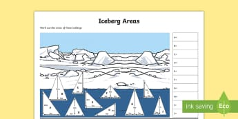 UKS2 Iceberg Areas Differentiated Activity Sheets - KS2, Maths, area, area of triangle, triangle areas, winter maths, christmas maths