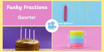 Fractions: Quarters Video - Fractions Videos, quarters, divide, fraction, equal, share by, 1/4, quarter of a shape, quarter of a