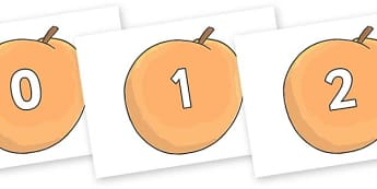 Numbers 0-50 on Giant Peach to Support Teaching on James and the Giant Peach - 0-50, foundation stage numeracy, Number recognition, Number flashcards, counting, number frieze, Display numbers, number posters
