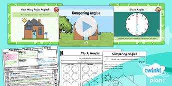 PlanIt Y3 Properties of Shape Lesson Pack Right Angles (1)  - Properties of Shapes, angles, angles in shapes, right angles