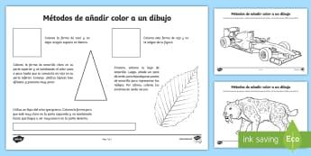 Ficha de actividad: Métodos de añadir color a un dibujo - color, colorear, pintar, reflejos, sombras, habilidades artísticas,Spanish