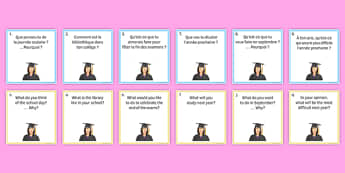 General Conversation Question Pair Cards Education Post - french, Conversation, Speaking, Questions, Education, Éducation, Studies, Études, College, Lycée, Baccalauréat, A levels, Exams, Examens, University, Université, Apprenticeship, Apprentissage,