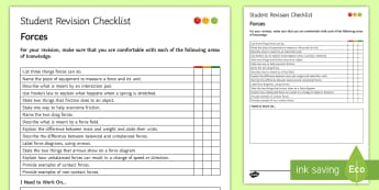 Forces Student Revision Checklist - Student Progress Sheet (KS3), forces, balanced , unbalanced, friction, contact forces
