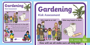 Outdoor Learning Gardening Risk Assessment Display Poster - CfE Outdoor Learning, nature, forest, woodland, playground, risk assessment, health and safety.,Scot