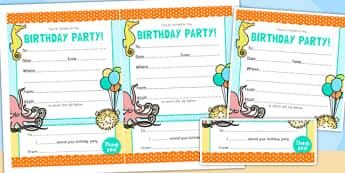 Under the Sea Themed Birthday Party Invitations - birthdays