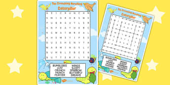 Word Search to Support Teaching on The Crunching Munching Caterpillar - story books, game
