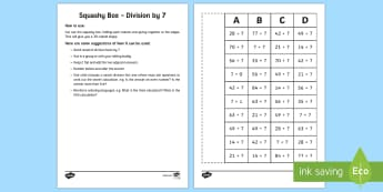 Squashy Boxes Division by 7 Craft - Mental Maths Warm Up + Revision - Northern Ireland, squashy boxes, division, divide by seven.