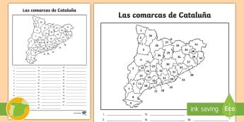 Ficha de actividad: Las comarcas de Cataluña - Mapas, provinicias, mapas mudos, mapas en blanco, las ciudades de españa, comarcas, concejos, comun