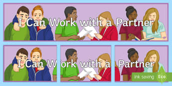 I Can Work with a Partner Banner - Key Stage 4, Entry Level, SEN, Partner, pair,