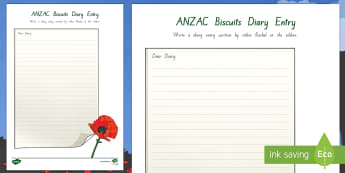 Diary Entry Activity to Support Teaching on ANZAC Biscuits - New Zealand, Anzac Day, 25 April, ANZAC, Poppies, World War 1, World War 2, Gallipoli, writing, diar