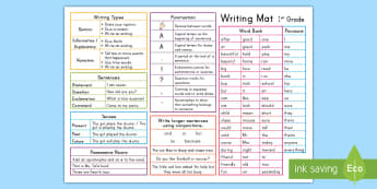 1st Grade Writing Word Mat - writing mat, usa, writing aid, prompt,